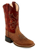 Old West BSC1912 Kids Brown Square Toe Boot W/ Red Upper
