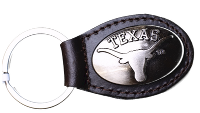 Zep-Pro KL6-BRW-UTX Texas Longhorns Small (Crazy Horse) Oval Concho Key Chain
