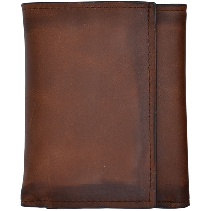 3D W634 Brown Basic Trifold Wallet