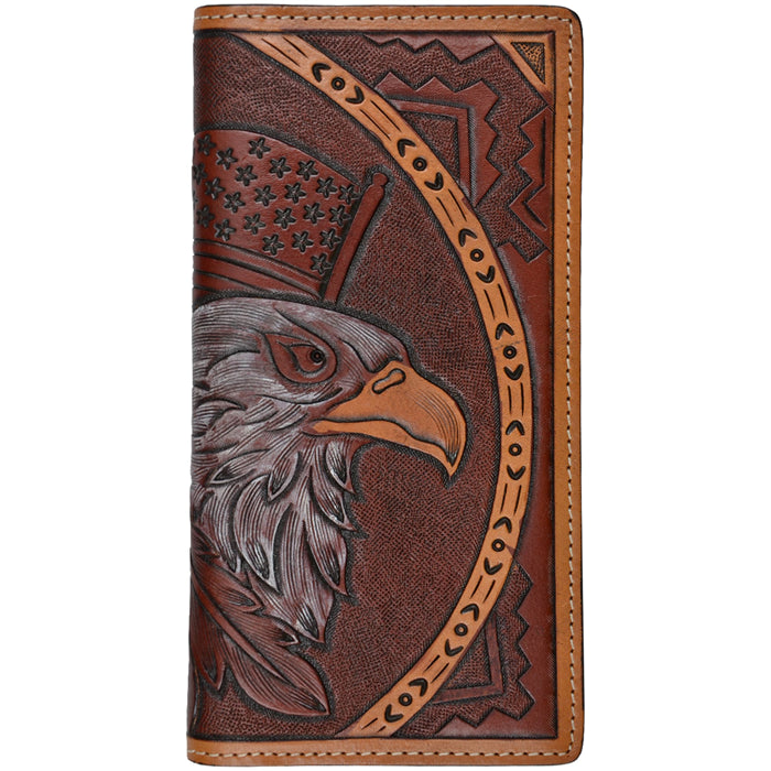 3D W755 Tan Western Rodeo Wallet