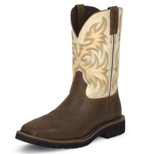 "Justin WK4683 11"" Copper Kettle Cowhide with Titanium White Top Wide Square Toe"