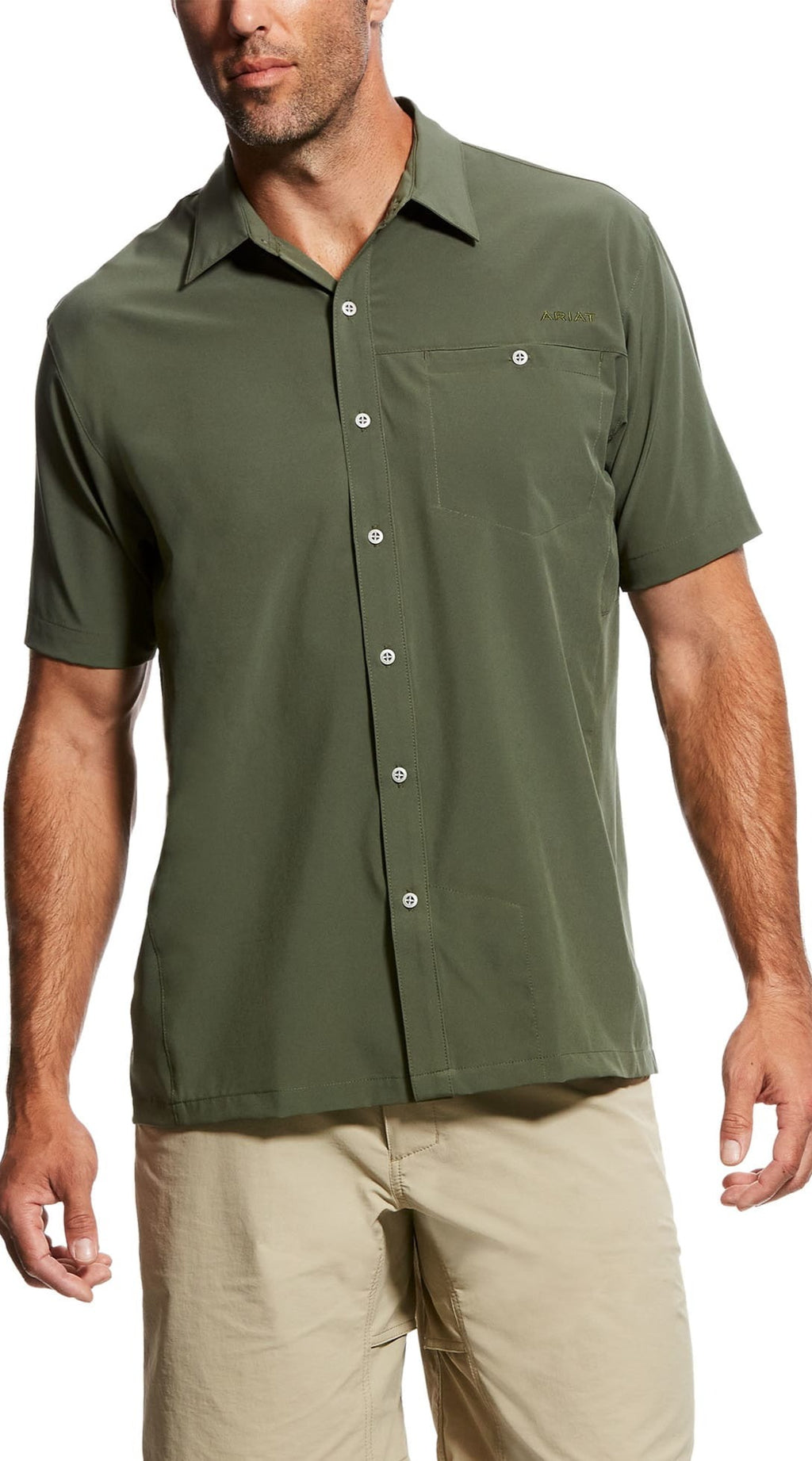 Ariat 10026661 MEN'S TEK Solitude Stretch Classic Fit Thyme Short Sleeve Shirt