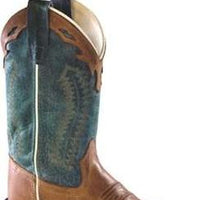 OLD WEST BSY1872 YOUTH TAN w/BLUE TOP WIDE SQUARE TOE