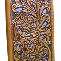 Brown Floral w/Turquoise Inlay Wallet 5022-4BR