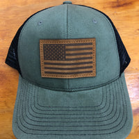 American Flag w/Leather Patch Snap Back Trucker Cap FREE SHIPPING