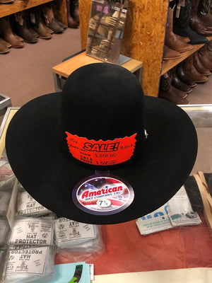 American Hat 15X Black Open Crown