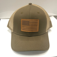 American Flag w/Leather Patch HW-LAF-OB Snap Back Trucker Cap