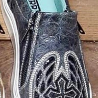 Women's Corral E1552 Black Cross & Wings Inlay Shoe *CLOSEOUT*