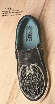 Women's Corral E1552 Black Cross & Wings Inlay Shoe