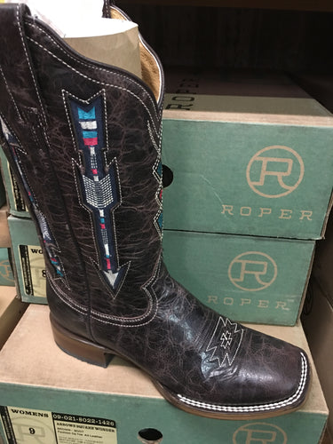 Women's Roper 09-021-8022-1426 BR WONDER FIT Embroidered Arrow Design Brown Wide Square Toe