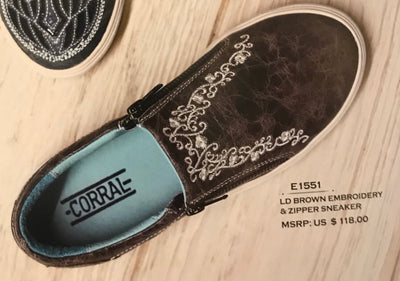 Women's Corral E1551 Brown Embrodery Shoe