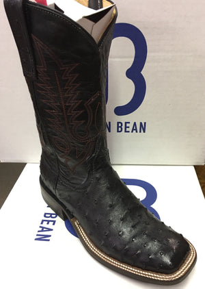 "Women's Anderson Bean Black Full Quill Ostrich 11"" Wide Square toe"