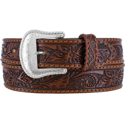 Silver Creek C40065 Brown Floral Hand Tooled Belt