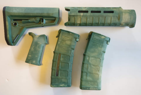 Magpul AR-15 Custom Dyed MOE SL Carbine Length 5 piece Kit Green Camo #4