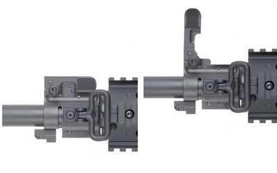 GG&G Sight Front Flip-up for Dovetail Gas Blocks, Fits AR-15, Black, Spring Actuated, A2 Flip-up Rear GGG-1297