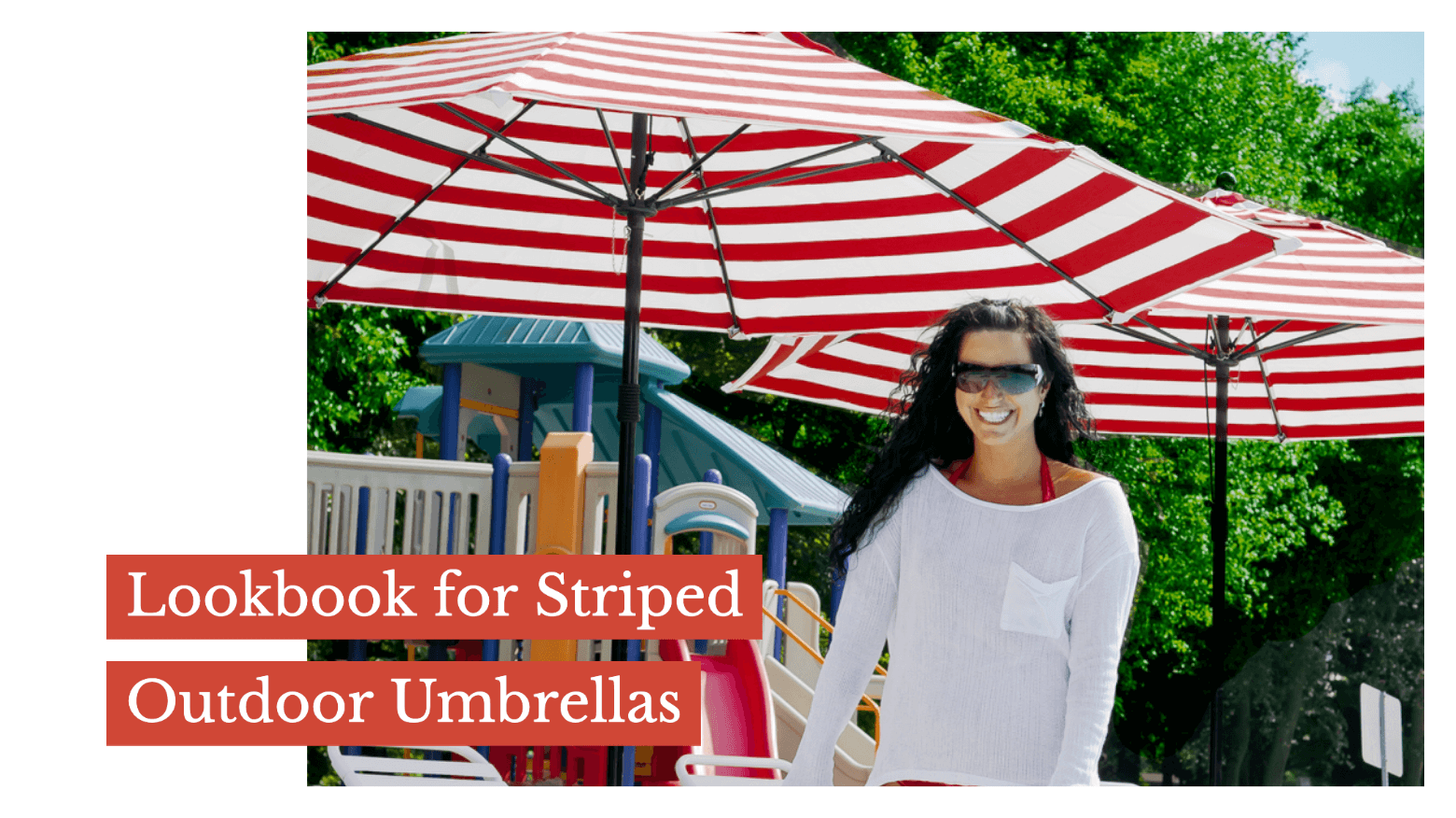 Lookbook for Striped Outdoor Umbrellas