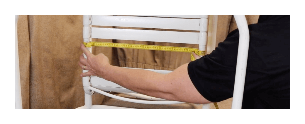 measuring straps on a patio chair