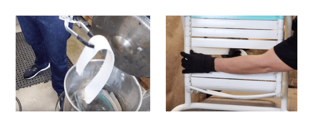 installing vinyl straps on patio chairs