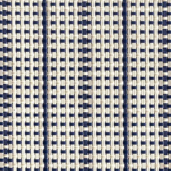 FP-005 | Stripe-Navy/Dove Phifertex® Cane Wicker & Waffle Wicker