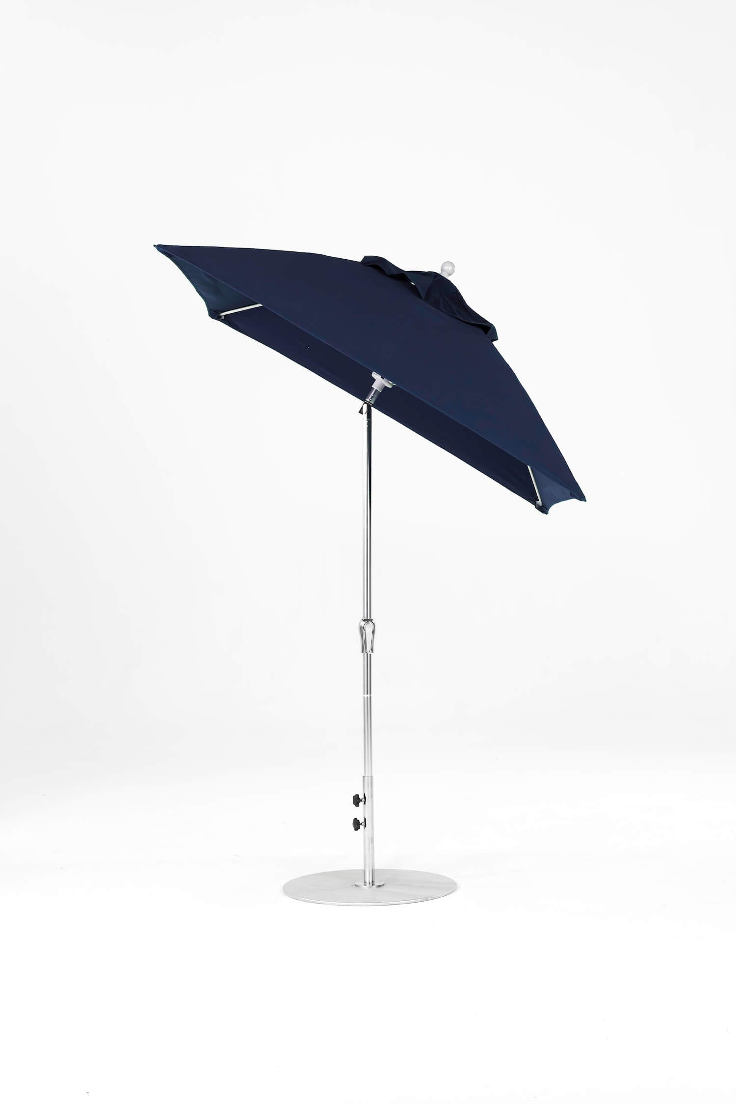 Monterey Crank Lift Auto-Tilt Umbrella | Square | Polished Silver Frame