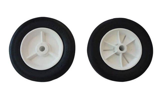 "White Plastic Hub & Black Rubber Tire - 6"" X 1-1/4"": Set of 2 