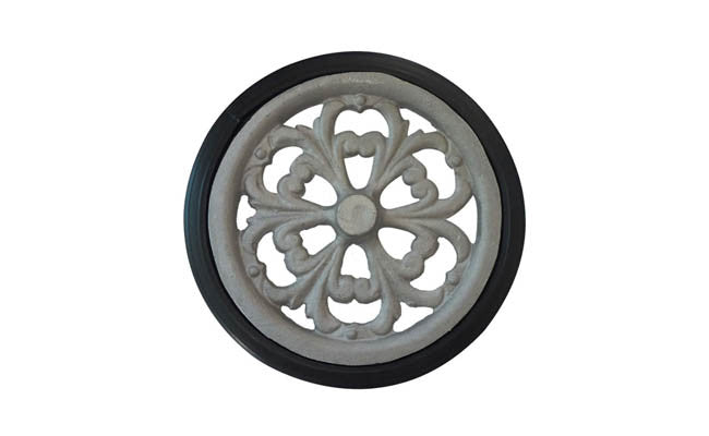 "Cast Aluminum Hub & and Vinyl Tire Set (set of 2): 8"" x 3/4"" (7"" rim dia.)