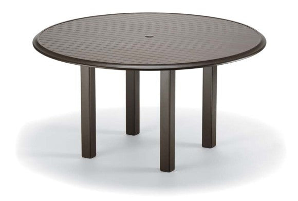 "Telescope Casual Aluminum Slat Top 56"" Round Dining Table w/Umbrella Hole 