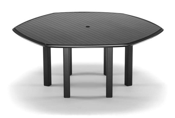 "Telescope Casual Aluminum Slat Top 64"" Hexagonal Dining Table w/Umbrella Hole 