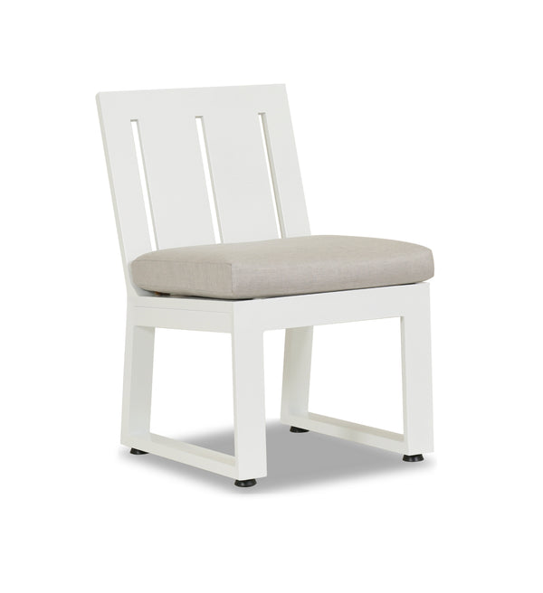 Newport Armless Dining Chair with cushion in Cast Silver