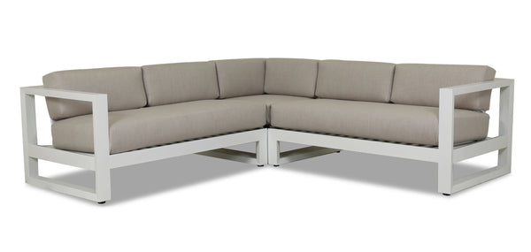Newport Sectional with cushions in Cast Silver