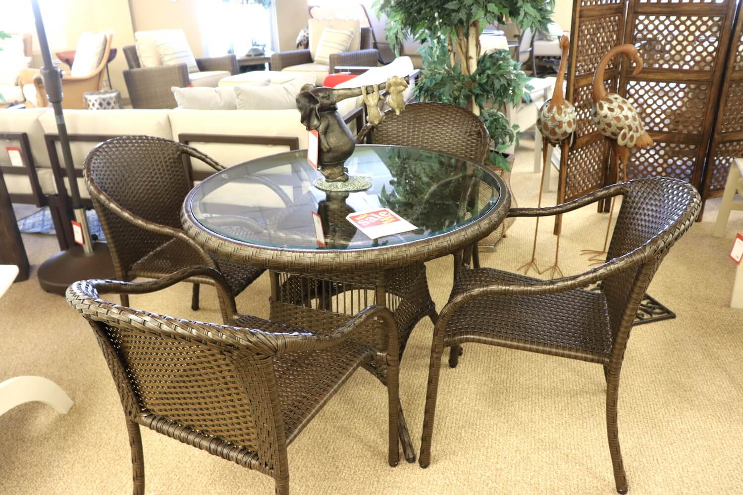 Woven Glass Table Dining Set