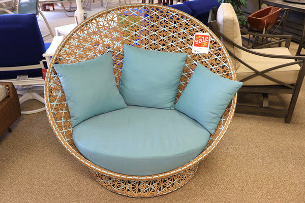 Blue Wicker Loveseat