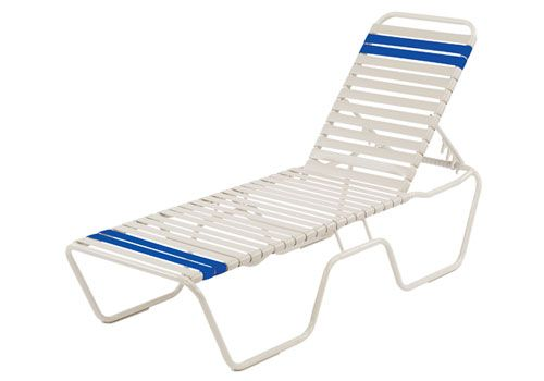 "14"" Seat Height Stacking Strap Armless Chaise Lounge"