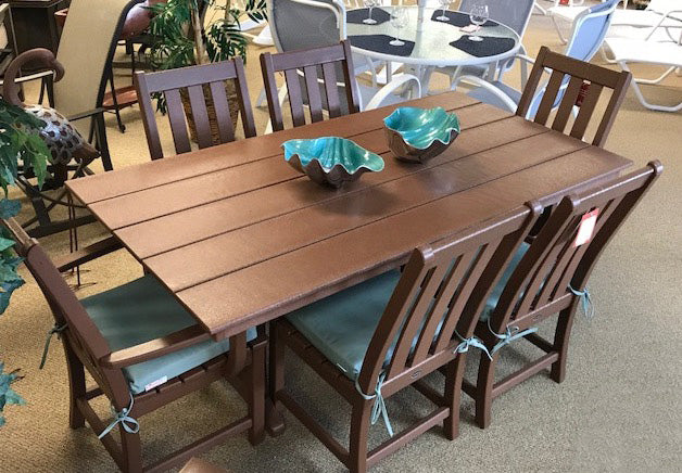 6 Seat Large Brown Dining Set