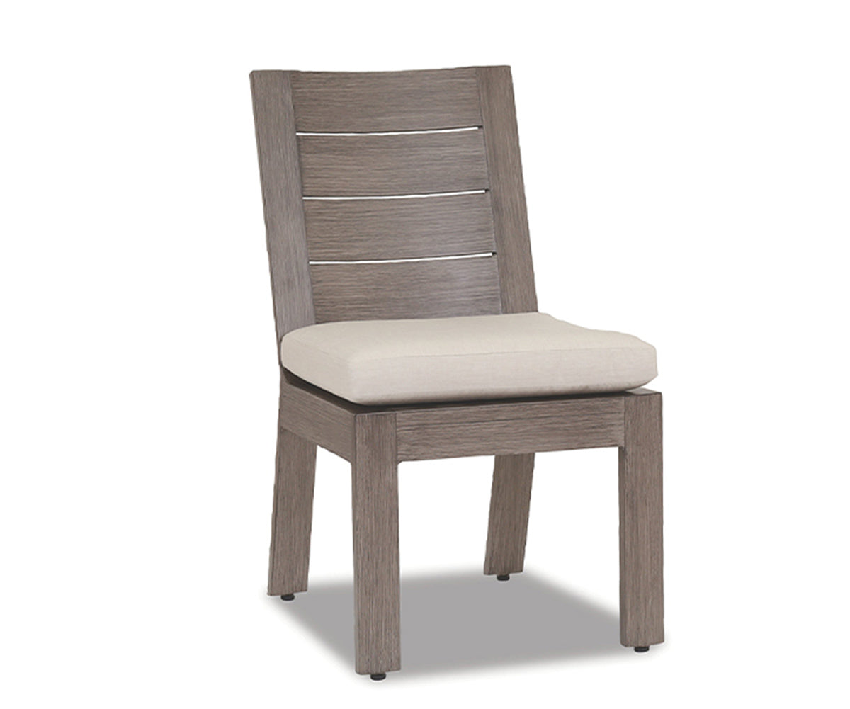 Laguna Armless Dining Chair with cushions in Canvas Flax
