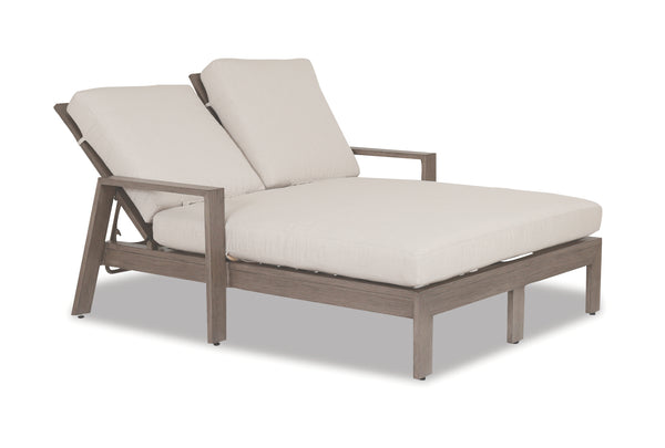 Laguna Double Chaise Lounge with cushions in Canvas Flax