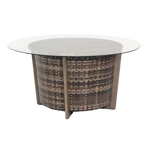 "Woodard Reunion 48"" Round Chat Height Coffee Table with Glass Top"