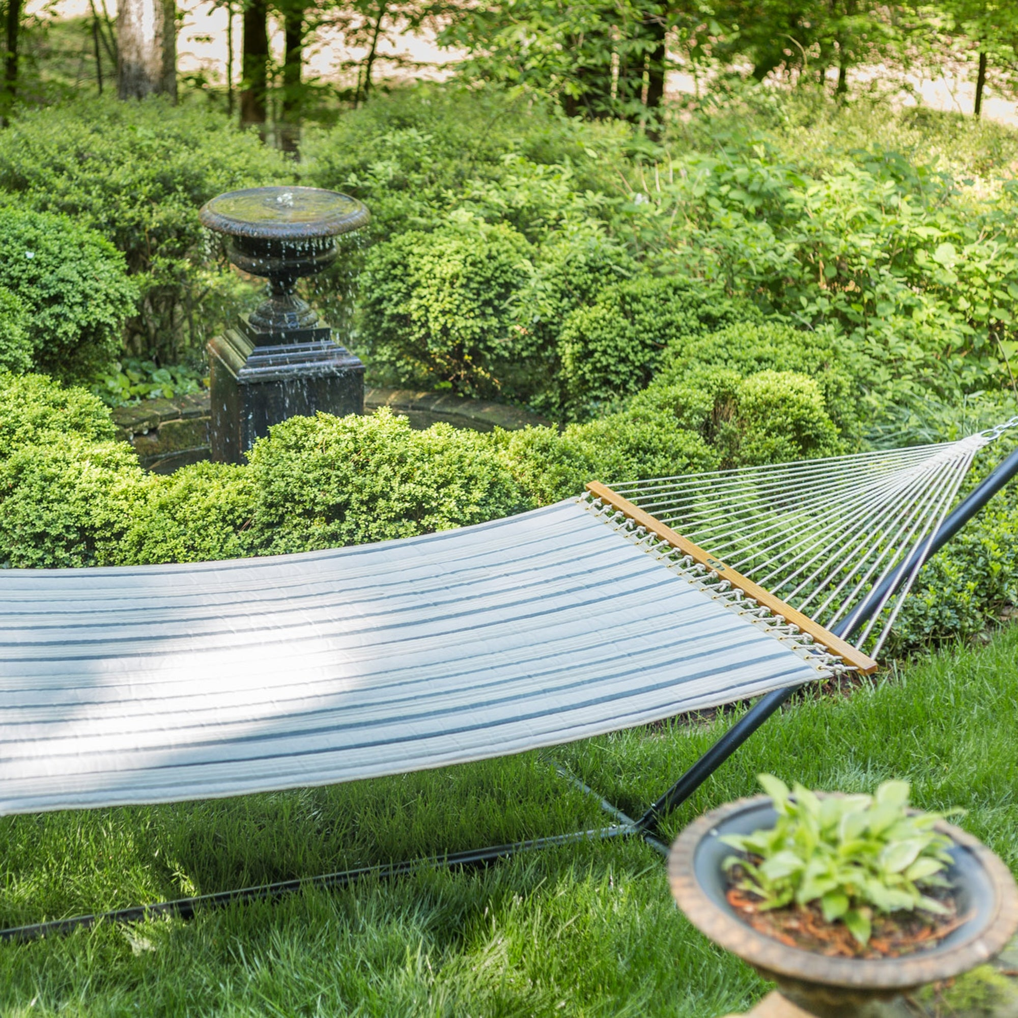 Large Quilted Fabric Hammock - Cove Pebble