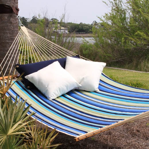 Pawleys Island Beaches Stripe Large Quilted Fabric Hammock