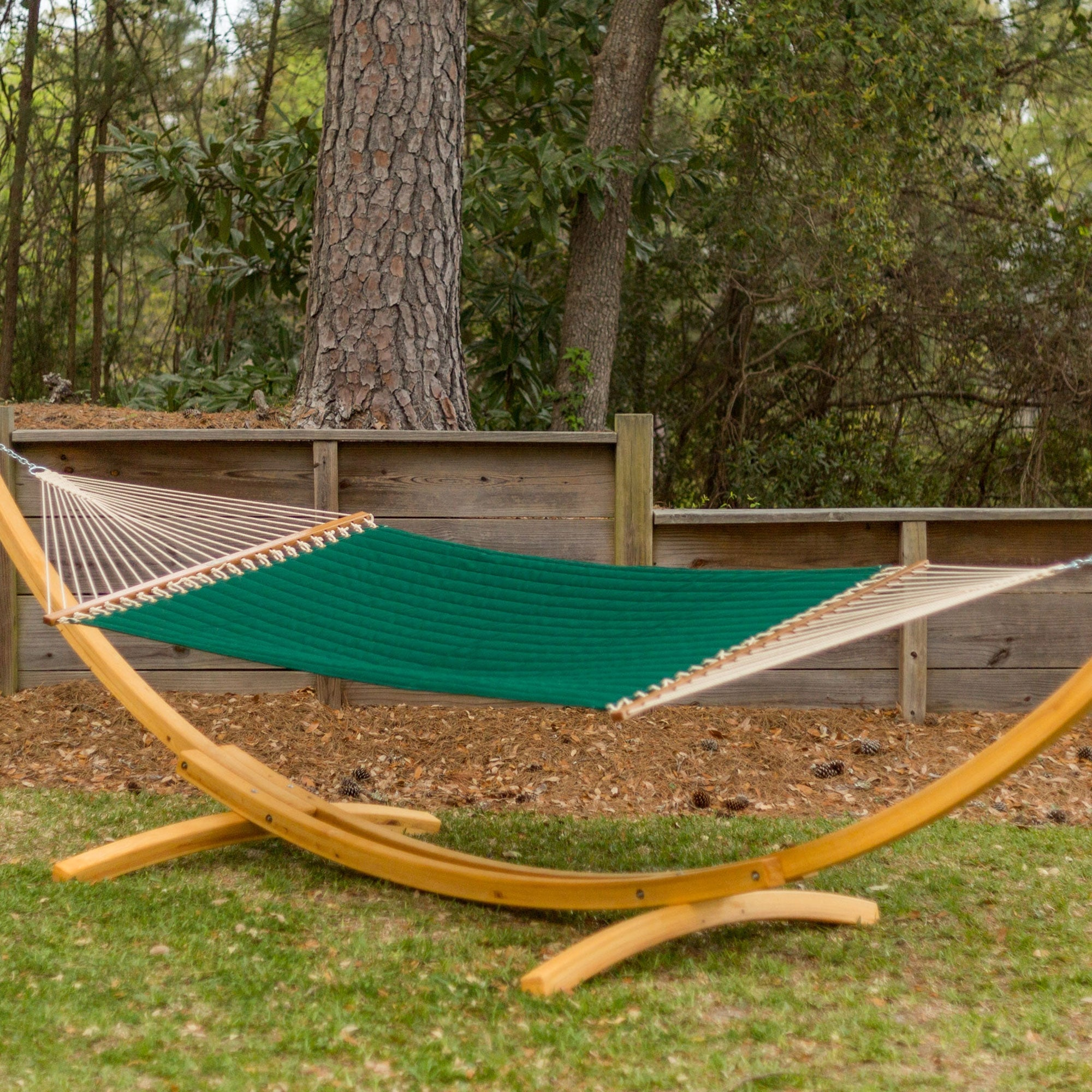 Large Quilted Fabric Hammock   Canvas Forest Green