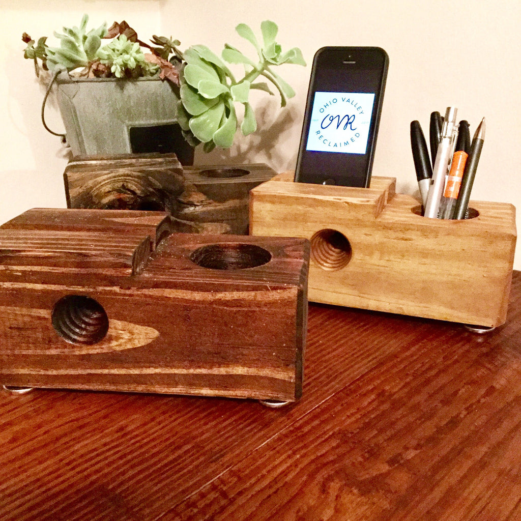 Reclaimed Wood Desktop iPhone Charging Stand and Speaker