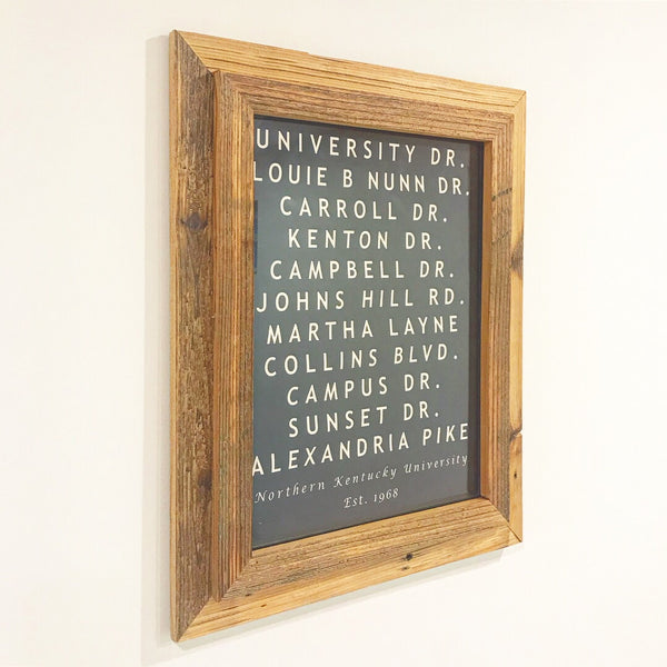 University Memory Lane Decor with or without Handcrafted Reclaimed Wood Frame