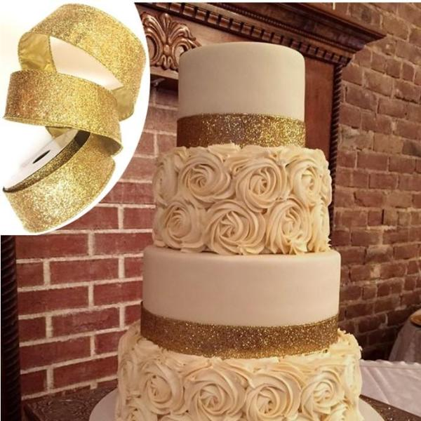 Gold High Sparkle Glitter Ribbon
