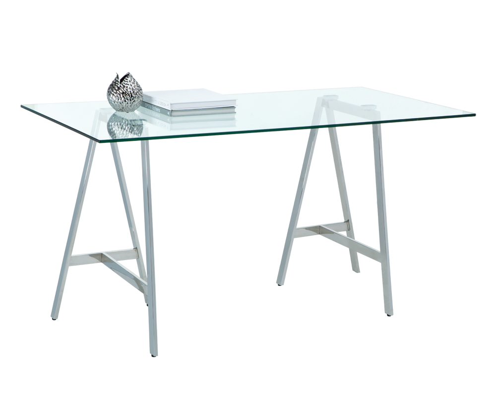 ARK TRESTLE BASE IN POLISHED STAINLESS STEEL WITH TEMPERED GLASS TOP  WRITING DESK