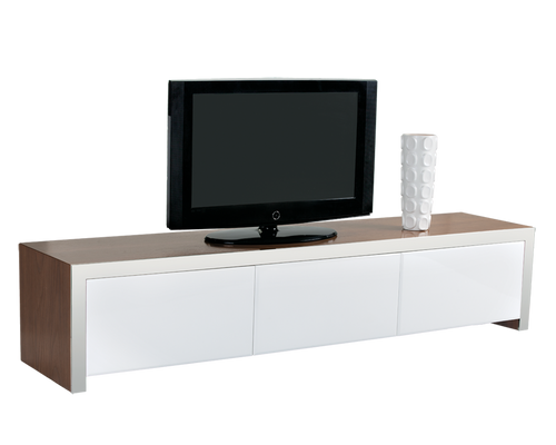 LAUDER AMERICAN WALNUT VENEER WITH STAINLESS STEEL BORDERS AND HIGH GLOSS WHITE FINISH DRAWERS MEDIA STAND for $1850.00