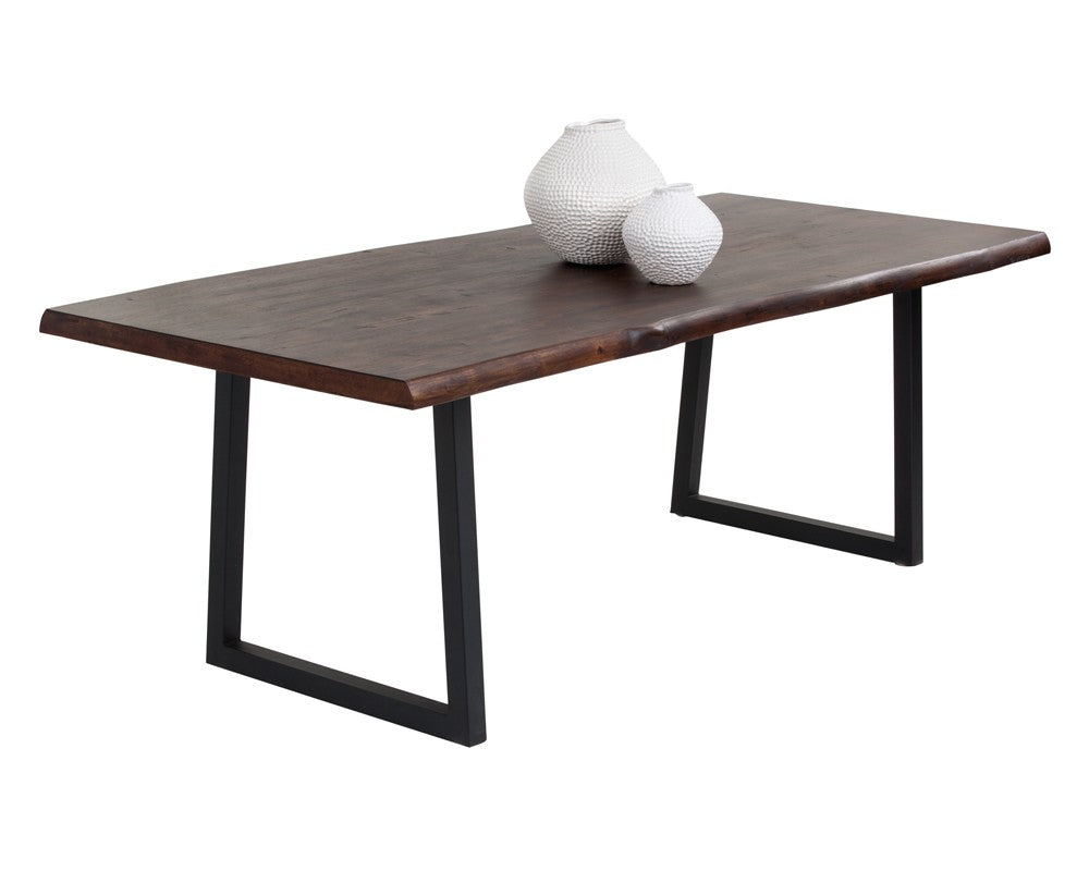 Dante solid acacia wood with black powder coated metal base dining table