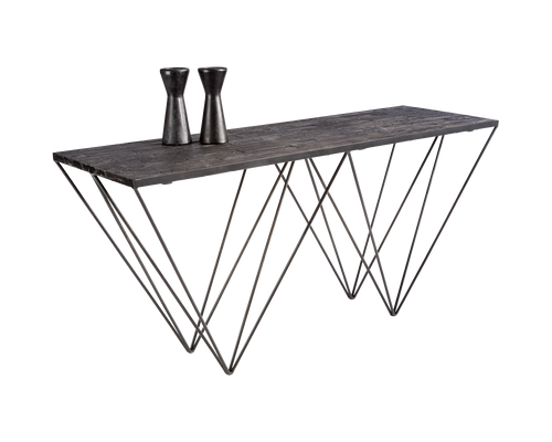 MUFFIN IRON BASE WITH BLACK PLANKS OF RECYCLED PINE TOP CONSOLE TABLE for $1600.00