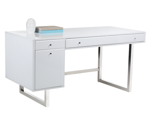 CAMARILLA HIGH GLOSS WHITE FINISH WITH STAINLESS STEEL BASE DESK for $2120.00