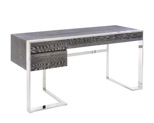 DANTON GERMAN OAK VENEER IN GREY FINISH WITH POLISHED STAINLESS STEEL BASE DESK for $4200.00