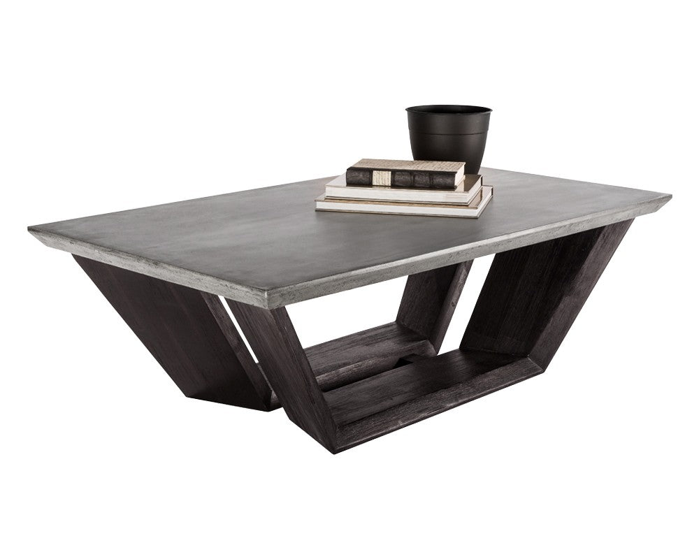 Amazing Glance Grey Concrete Top With Acacia Wood Base Coffee Table Bright Modern Furniture Cjindustries Chair Design For Home Cjindustriesco